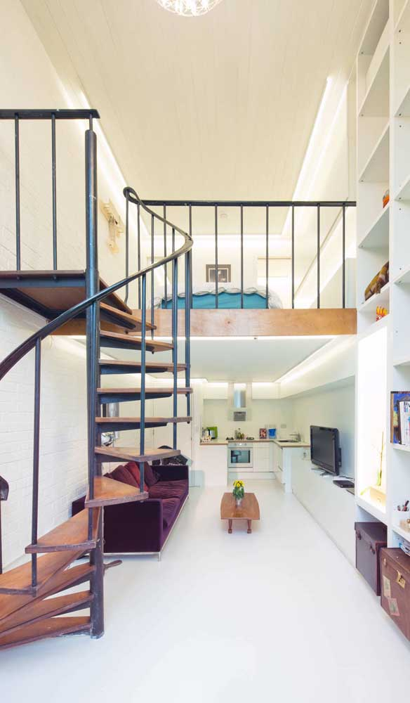 Os ambientes integrados são a melhor opção para casa duplex, uma vez que eles otimizam melhor a área útil da planta