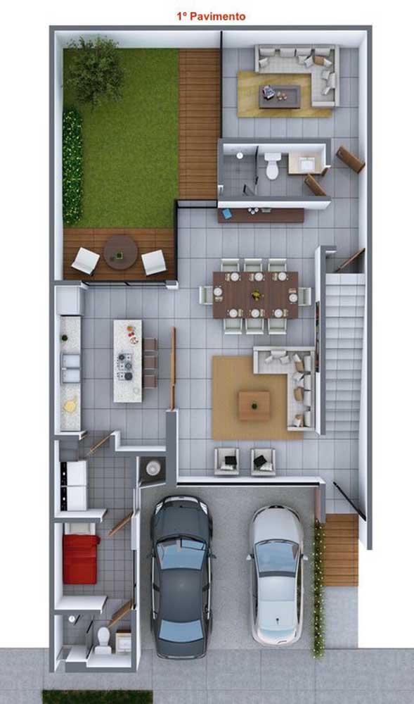 Planta de uma casa duplex com destaque para o primeiro pavimento; repare que o desenho privilegia o espaço externo com um pequeno jardim