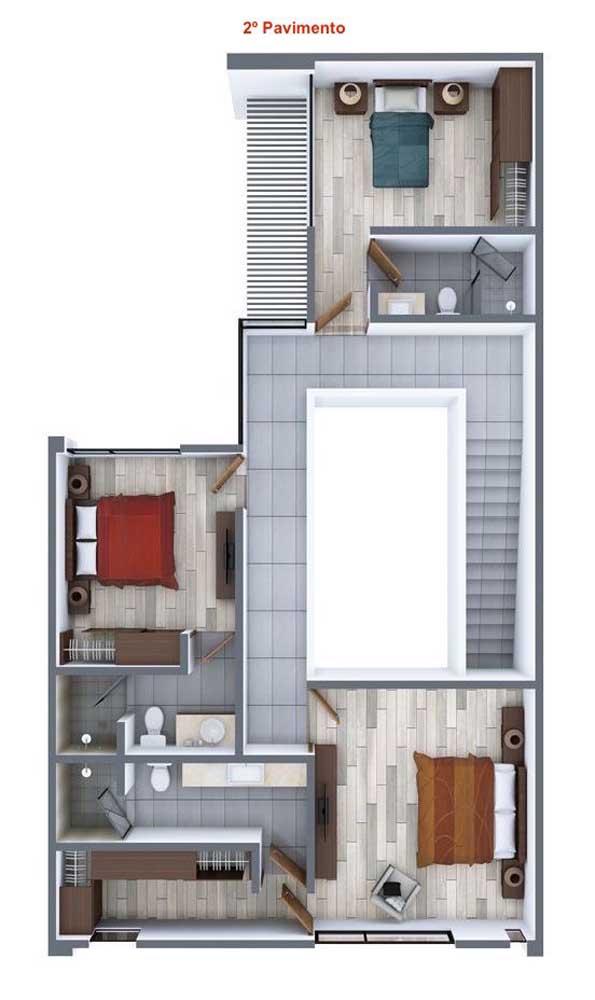 Já o segundo pavimento traz uma planta de casa duplex com três quartos, todos com suíte integrada