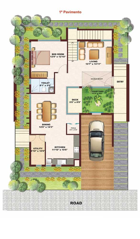 Planta de casa duplex com quarto no primeiro pavimento; solução para famílias que tem pessoas com mobilidade reduzida