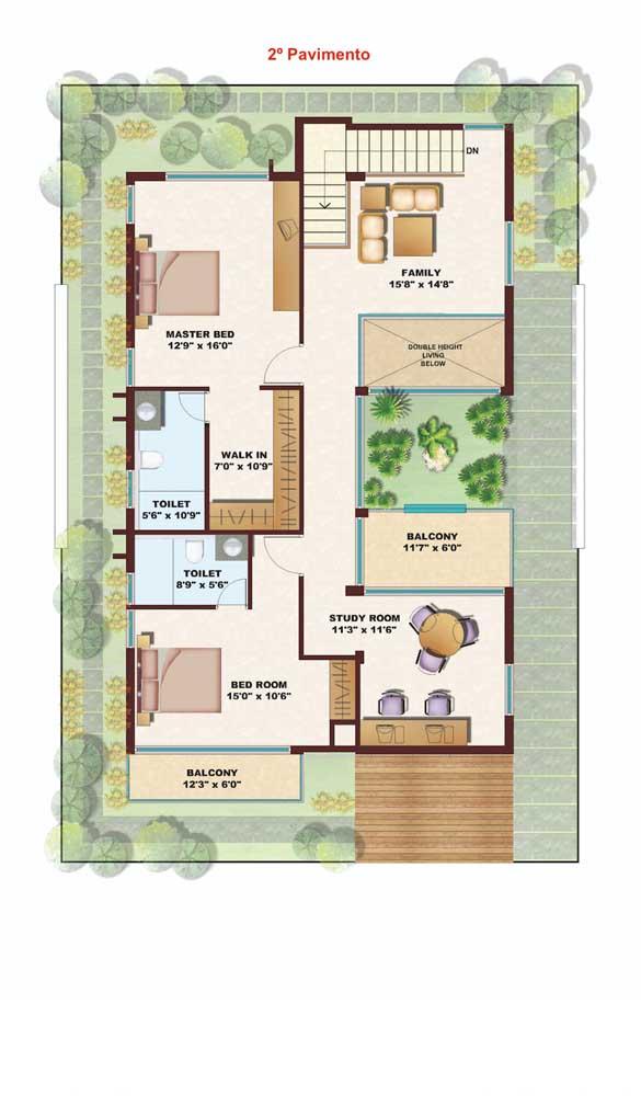 No segundo pavimento, a planta destaca uma suíte, um quarto, sala de estar e área de estudos
