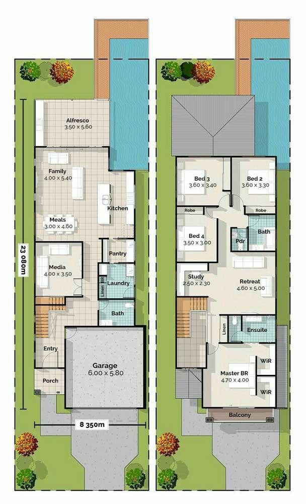 Planta de casa duplex com quatro quartos; perfeita para famílias grandes