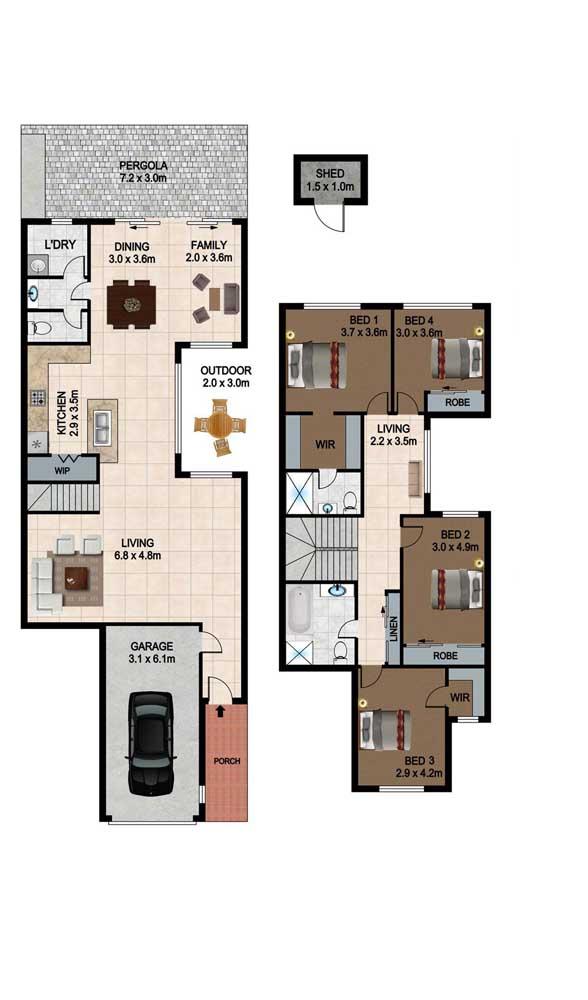 Planta de casa duplex com quatro quartos; no primeiro piso todos os ambientes são integrados