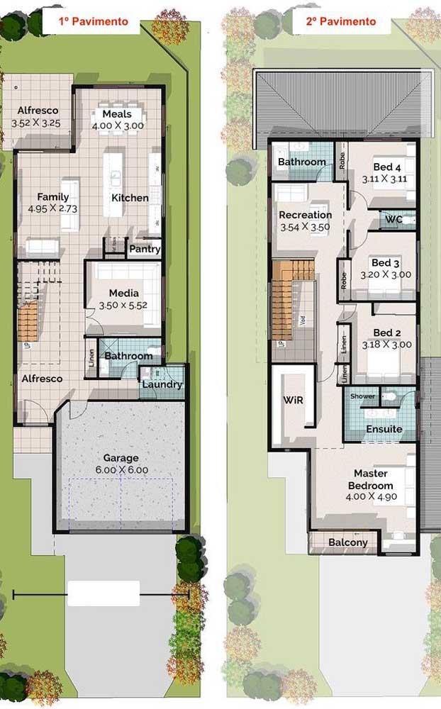Planta de uma casa duplex pequena com dois pavimentos