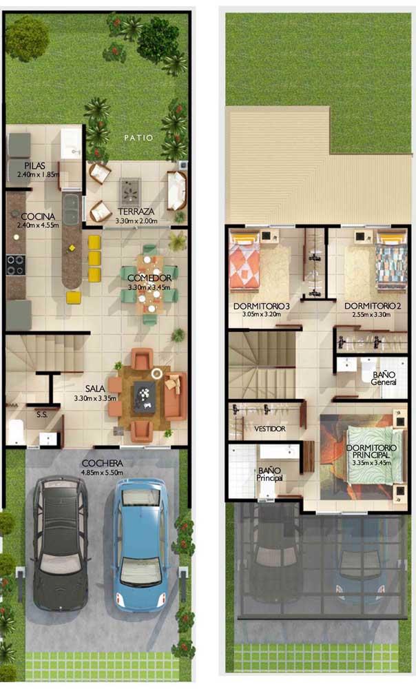 Planta de casa duplex com três quartos, garagem e área de lazer aos fundos