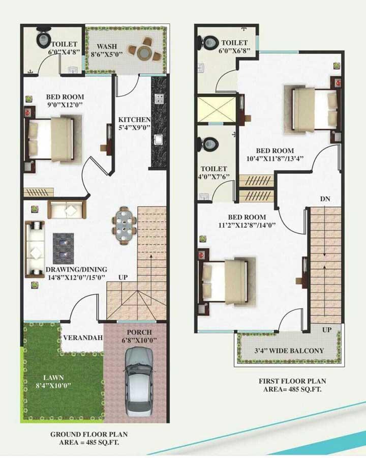 Planta de casa duplex com ambientes integrados no piso inferior; no segundo andar ficam os quartos