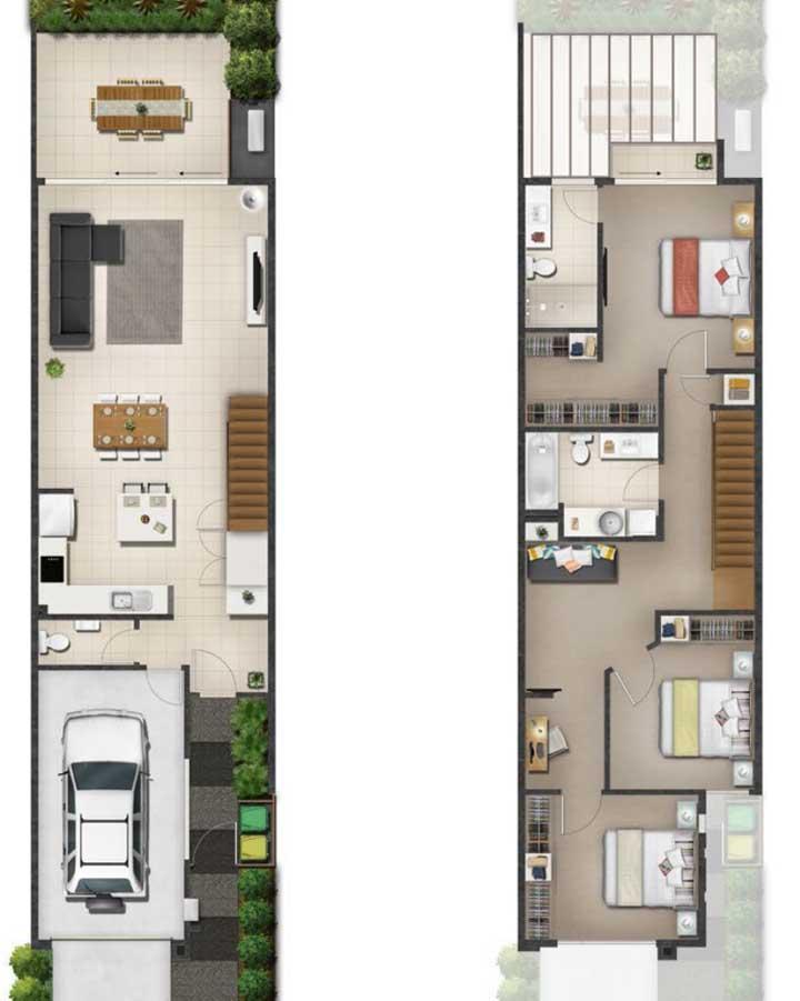 Planta de casa duplex com garagem e espaço gourmet aos fundos; repare que todos os ambientes são integrados no primeiro piso