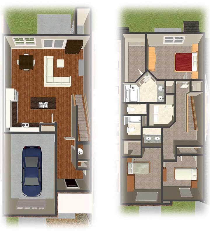 Planta de casa duplex em 3D com destaque para a garagem e a integração dos ambientes