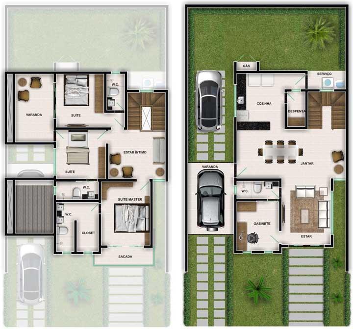 Planta de casa duplex com duas suítes, sendo uma com closet; repare que o segundo piso ainda tem espaço para uma sala de estar intima