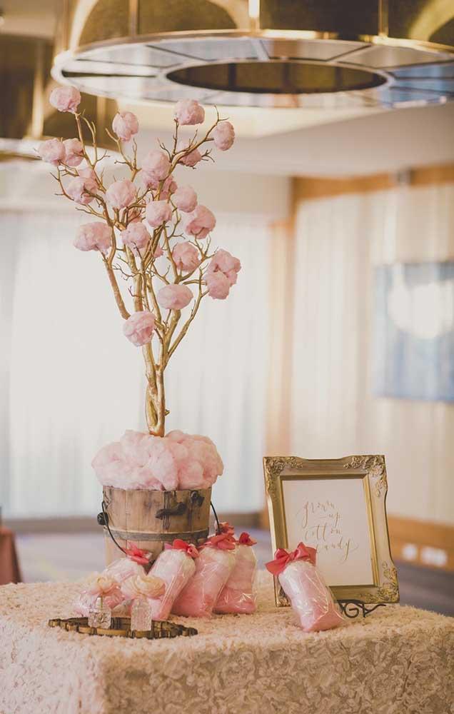 Decoração da mesa de lembrancinhas com árvore de algodão doce