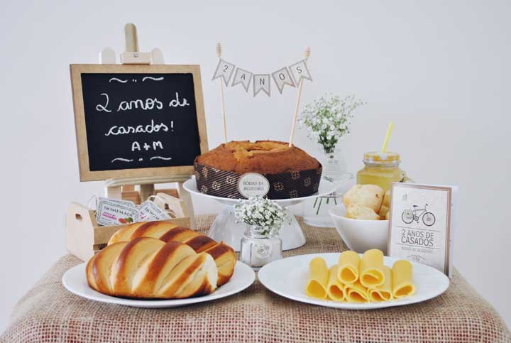 Inspiração de um café da manhã especial em comemoração as Bodas de Algodão