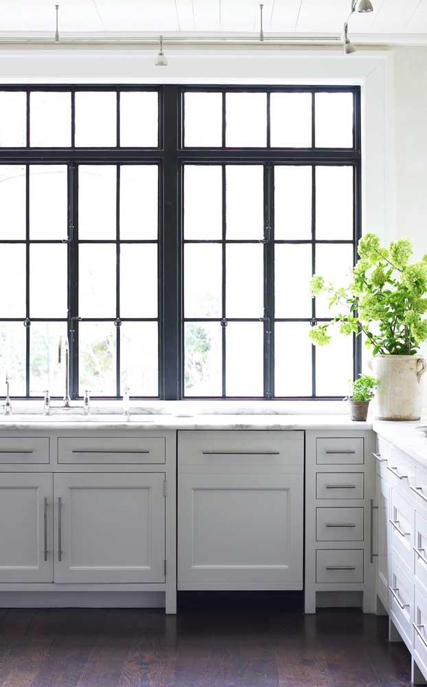 Janela de esquadria de alumínio preta para a cozinha de estilo clássico