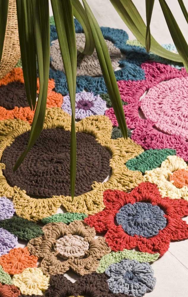 Um jardim florido no chão da sala!