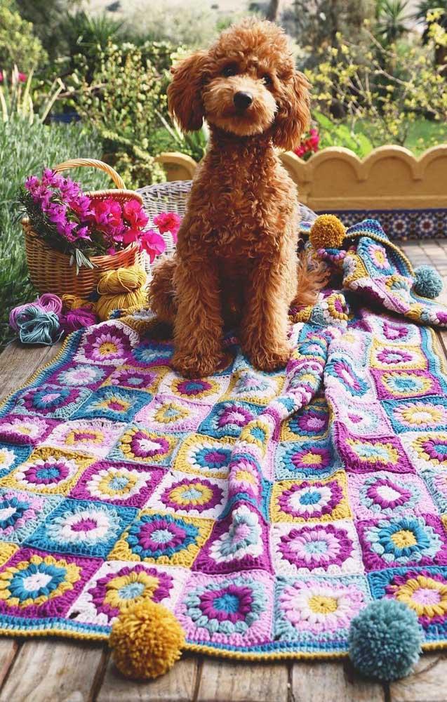 Colorido e cheio de vida, esse tapete de crochê com flores é um encanto!