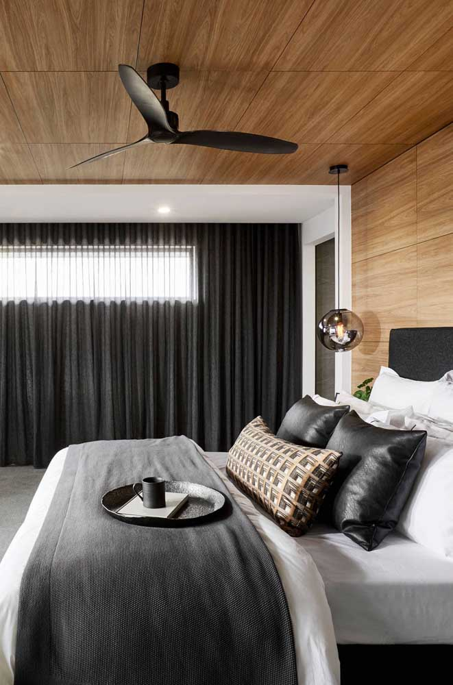 Design minimalista e moderno para o ventilador de teto preto