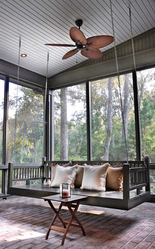 Ventilador de teto para a varanda, porque não?