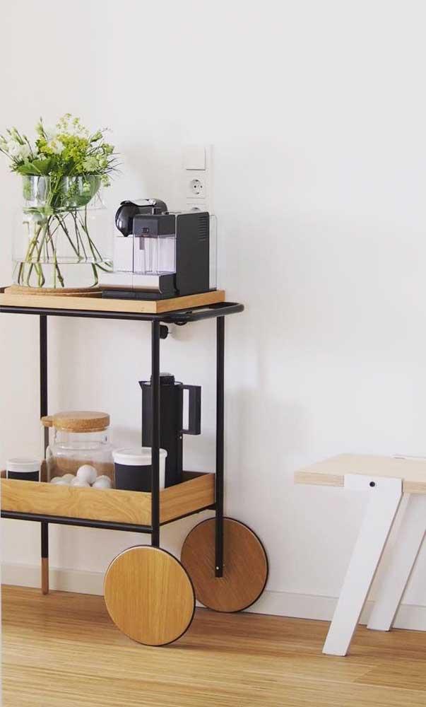O tradicional carrinho de bebidas pode tranquilamente ceder espaço para o cantinho do café