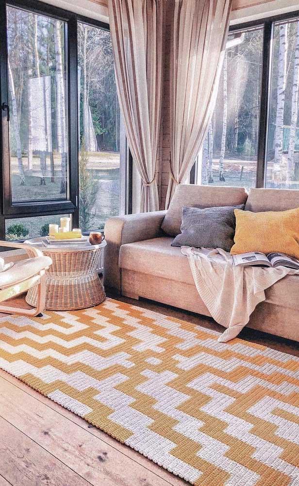 Tapete de crochê retangular grande para encher a sala de estar de conforto e aconchego
