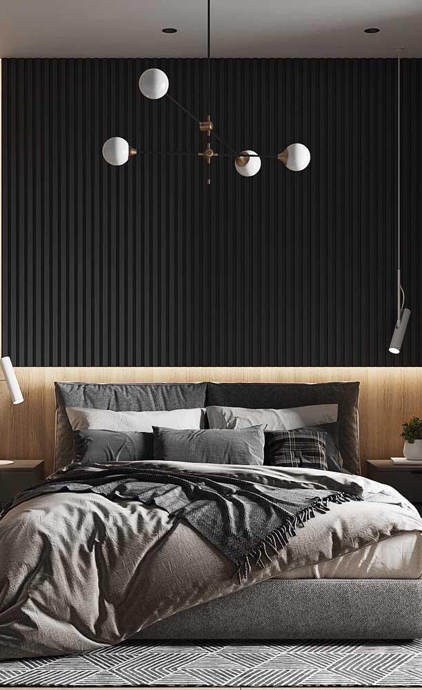 Pendentes direcionáveis são perfeitos para quartos de casal, onde cada um pode regular a luz de acordo com a própria necessidade