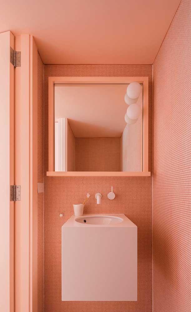 Da parede ao teto, passando pela porta: aqui nesse lavabo, o salmão também é protagonista