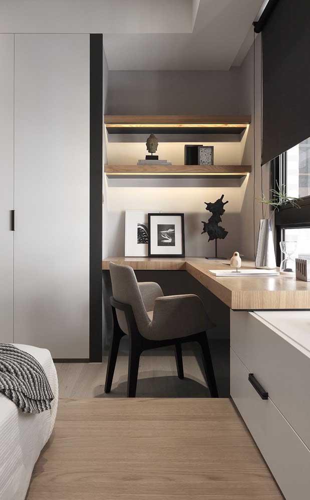Mesa de estudo para quarto em L; repare que a mesa se liga e une os demais móveis do ambiente