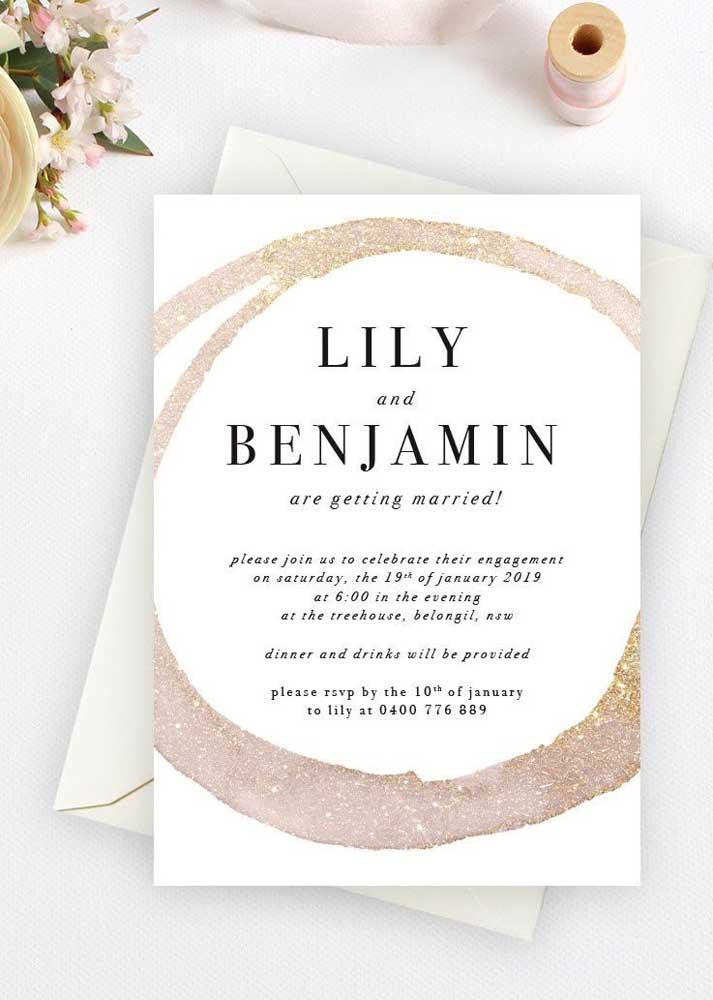 Use a criatividade para fazer o modelo de convite de noivado mais próximo da essência dos noivos.