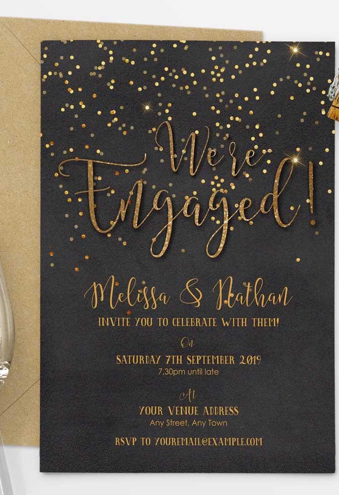 Se a festa de noivado será durante a noite, uma boa opção é fazer o convite com luzes.