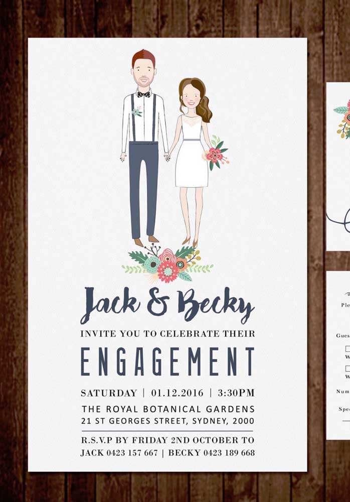 Nada mais personalizado do que colocar a caricatura dos noivos no convite de noivado.