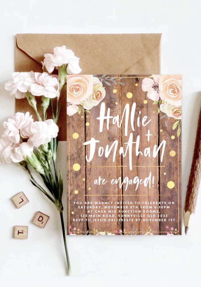 Os convites atuais não exigem envelopes, mas se você quer algo mais organizado, aposte em um modelo com envelopes.