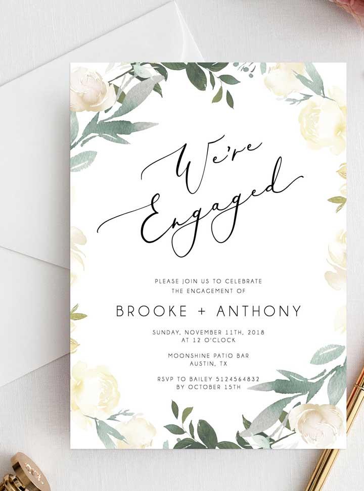 Se inspire com os diferentes modelos de convite de noivado.