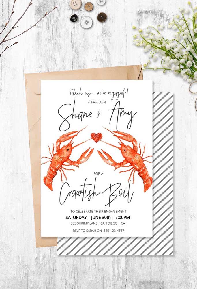 Você também pode optar em fazer um convite de noivado inspirado no prato preferido do casal.