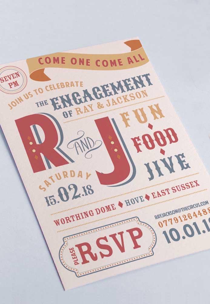 Para os casais mais alegres, aposte em convites mais coloridos.