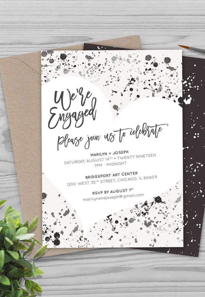 Faça uma mistura de texturas na hora de fazer o convite de noivado.