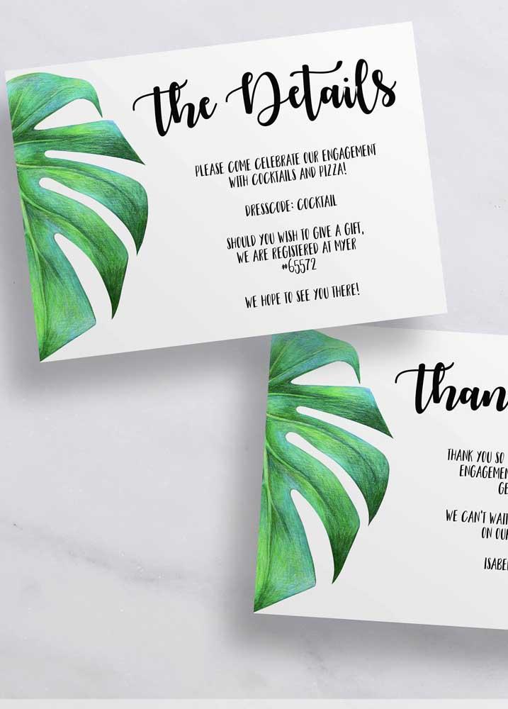 Com um pequeno detalhe é possível fazer um convite de noivado sem muita sofisticação.