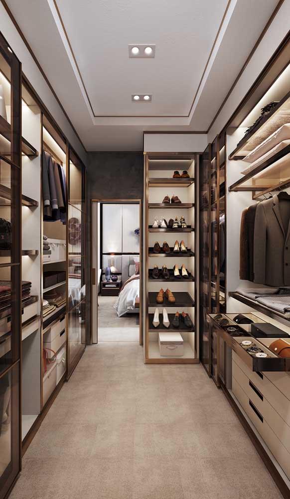 Tudo em seu lugar: uma das grandes vantagens do closet é a possibilidade de organização das peças