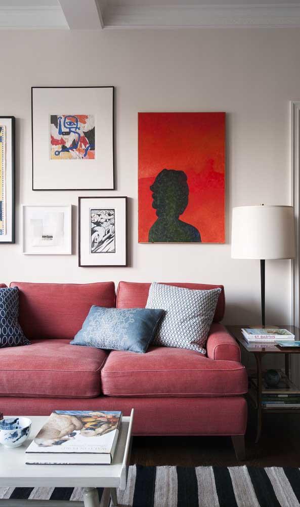 Sofá vermelho queimado para a sala de estar moderna