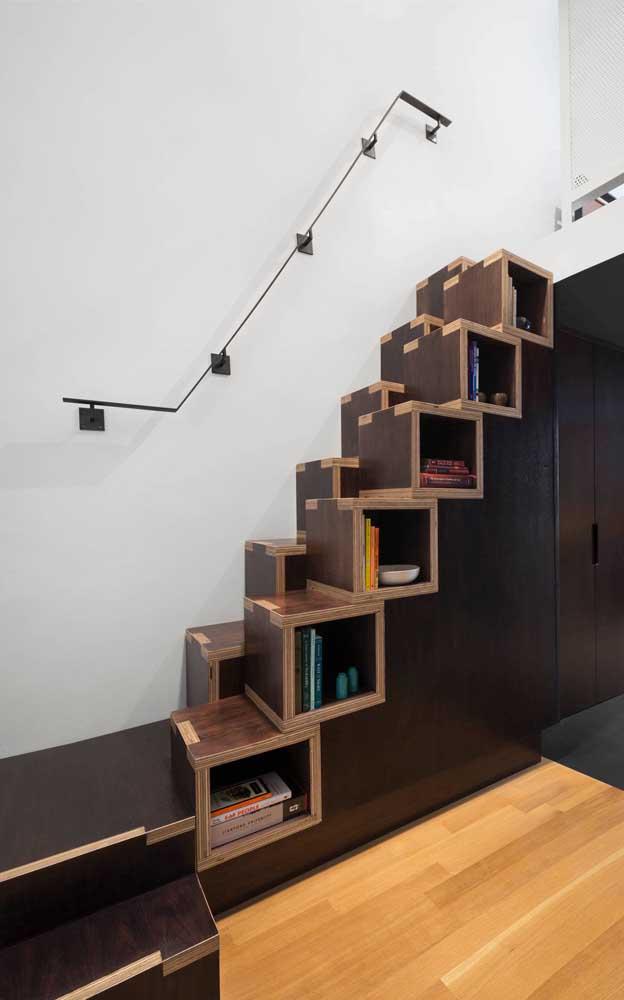 Nichos embutidos na escada moderna! Uma grande aposta para ambientes pequenos!