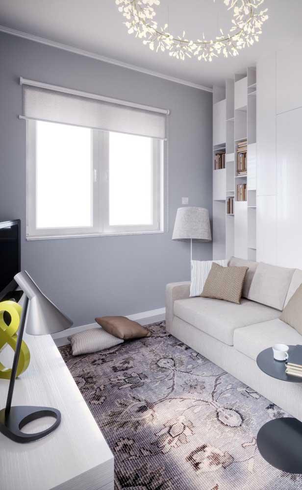 Já o cinza é a melhor escolha para quem deseja uma sala moderna, mas sem cair no branco