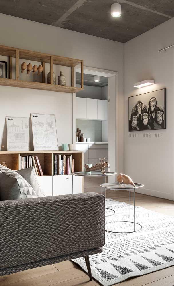O quadro de macaquinhos não ocupa espaço e ainda traz aquele toque de personalidade fundamental para a sala de estar