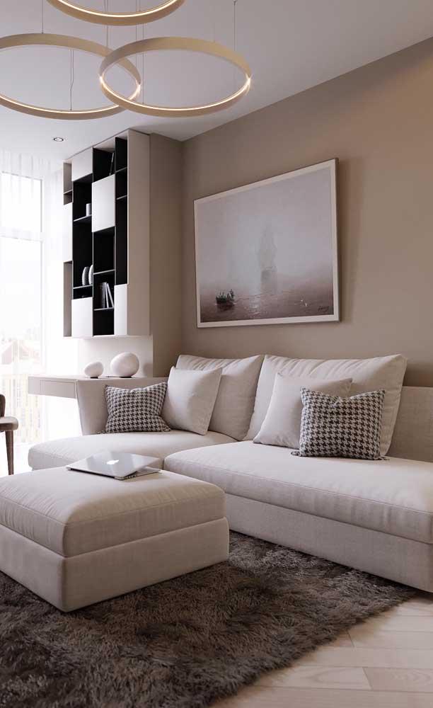Puro luxo essa sala de estar pequena decorada com sofá branco