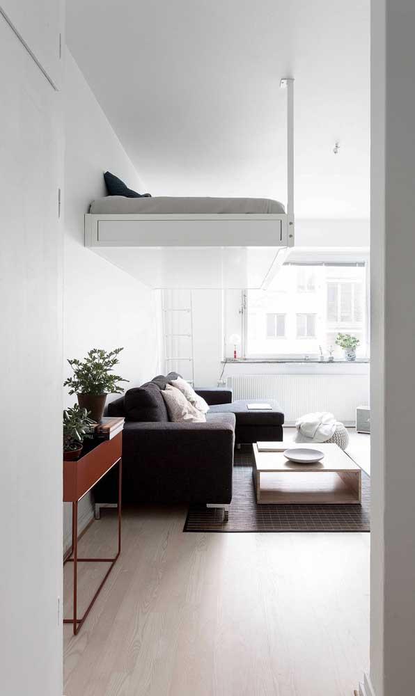 Sala de estar pequena com mezanino: a solução das kitnets