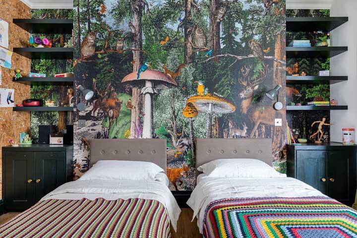 Mas se preferir pode optar por levar uma floresta para o quarto dos gêmeos