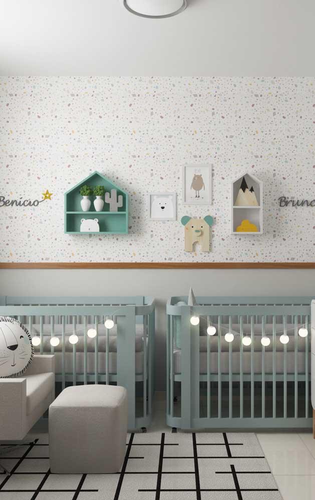 Paleta de cores moderna para o quarto de meninos gêmeos