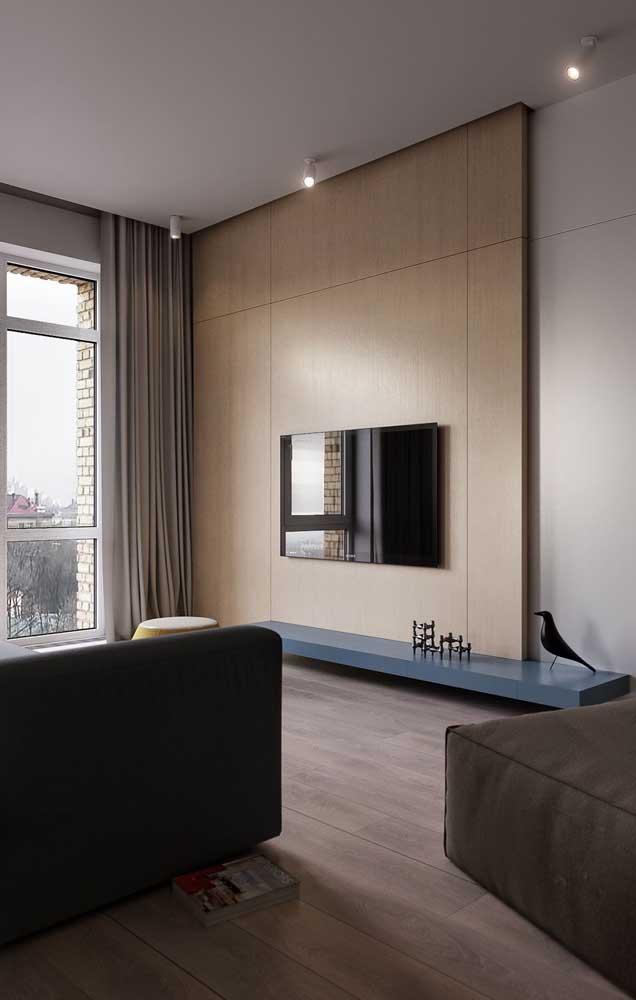 Moderno e minimalista, esse rack com painel planejado é a inspiração perfeita para quem busca algo diferenciado