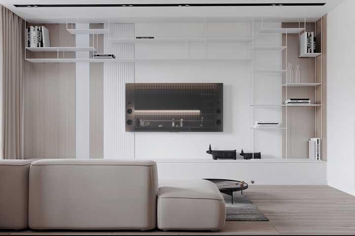 Rack com painel branco moderno feito com nichos de ferro aramado