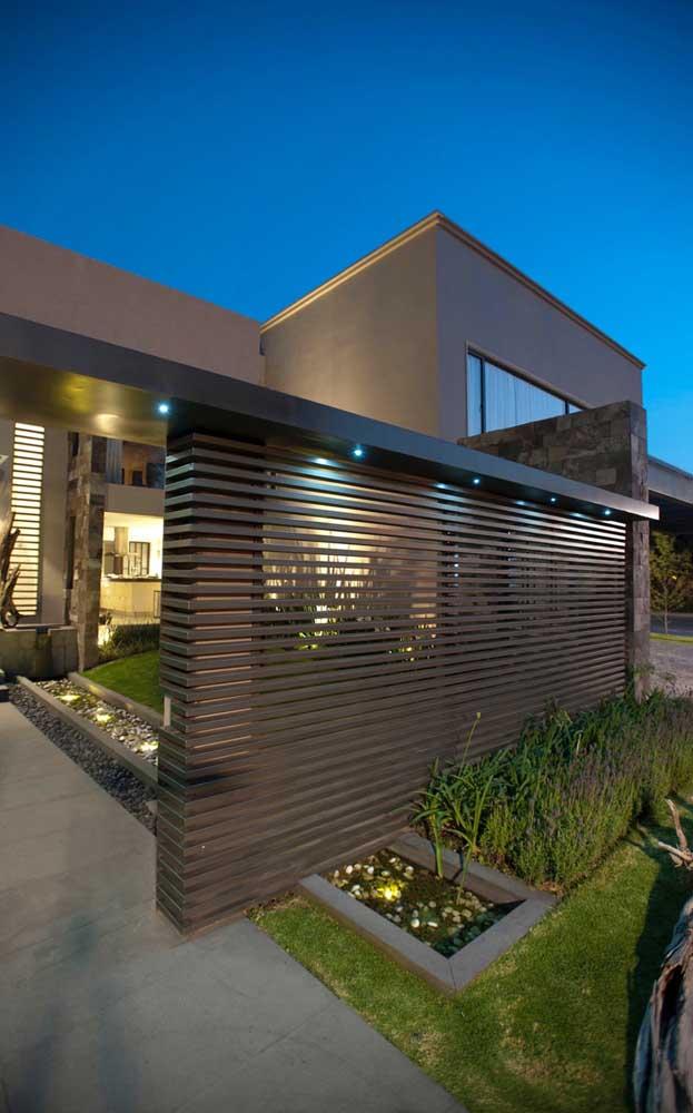Muro com grade na horizontal: opção diferenciada e moderna