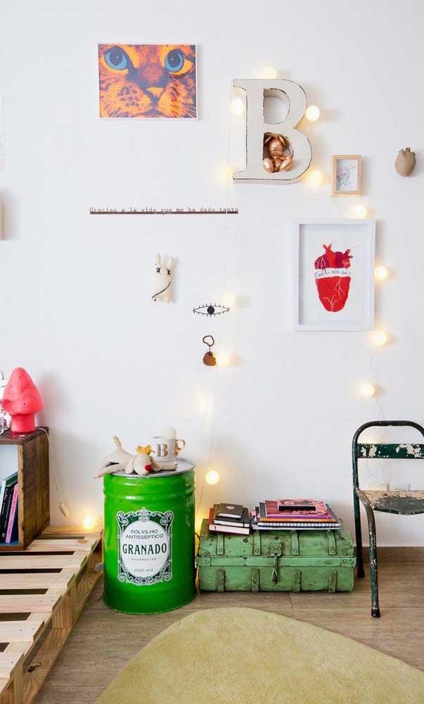 Tonel decorativo verde para o quarto das crianças