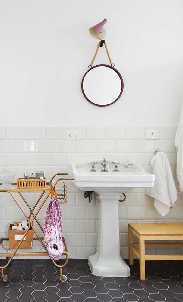 Espelho Adnet pequeno com corda naval para o banheiro de estilo retrô