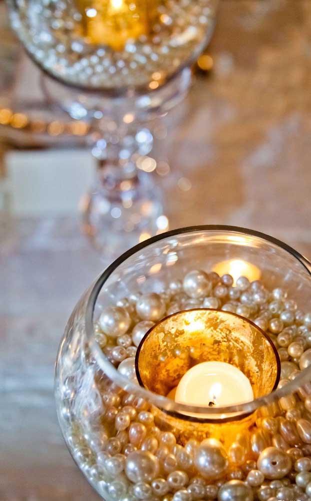 Sugestão simples, fácil e barata de centro de mesa para a festa de bodas de pérola
