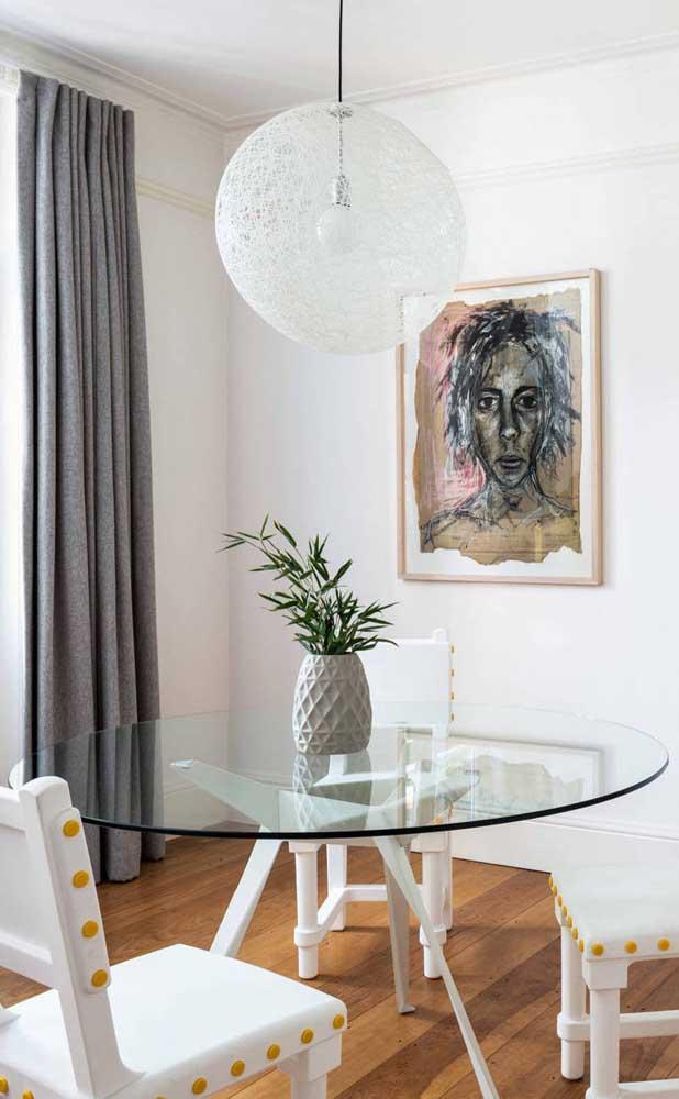 Mesa de vidro redonda simples para a sala de jantar